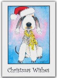 PACK OF 6 BEDLINGTON TERRIER DOG PAINTING CHRISTMAS CARDS BY SUZANNE LE GOOD