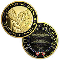 US Police Protector St. Michael Challenge Coin Officers' Prayer Gold Coin