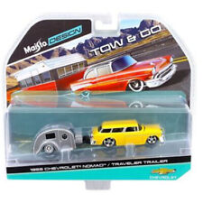 Maisto 1:64 TOW & GO 1955 Chevrolet Nomad & Traveler Trailer Model Yellow 15368E