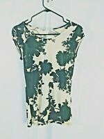 womens topshop top size 8 blouse black and cream short sleeve round neck