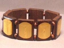 Christian Bracelet CRUCIFIXION GOLD FOIL IMAGE Wood Bead Stretch DARK BROWN Wow!