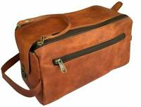 Vintage Soft Leather Travel Toiletry Bag Shaving Dopp Kit Men Shaving Case