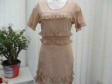 """top shop"" ladies nude coloured chiffon dress sz10"