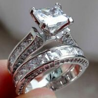 New Wedding Engagement Ring Set 925 Sterling Silver Princess White Cz Sz 6-10