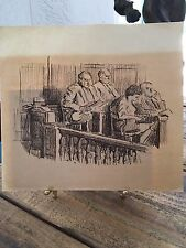 "drawing lithograph ""the jury"" signed by shelly (sheldon) fink 1925-2002"