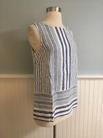 Size XS J Jill Love Linen Blue Striped Tank Top Shirt Blouse NEW $69 Extra Small