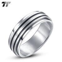 TT 8mm Double Black stripe Grooved Brushed Stainless Steel Spinner Ring (R66)
