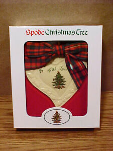 """2001? Spode Heart """"With Love"""" Porcelain Christmas Tree Ornament in Original Box"""