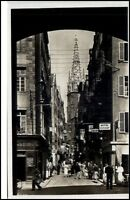 Saint Malo France CPA ~1940 AK La grande rue et la cathédrale Hotel Restaurant