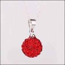 Collier pendentif boule Shamballa DISCO cristal rouge + chaine 45 cm OFFERT