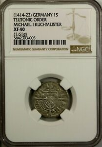 Germany Poland  Schilling 1414  NGC XF 40 Teutonic Order Michael I Kuchmeister