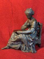 Antique Ansonia Gilbert Waterbury Seated Classical Spelter Mantel Clock Statue 9