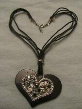 "Black Cord & Plastic Silver Tone & Clear Heart Pendant Necklace - 18-19"" long"