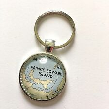 PRINCE EDWARD I CHARLOTTETOWN CANADA Map Key Ring Keychain Silver ATLAS