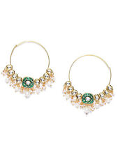 Bali Kundan Pearl Drop Earrings Pairs Ethnic Indian Gold Tone Hoop Style Big
