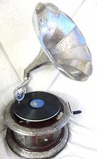 ANTIQUE ROUND GRAMOPHONE PHONOGRAPH STEEL CRAFTED HORN SOUND BOX NEEDLE SET