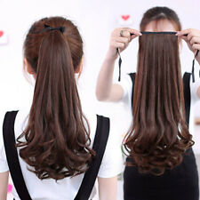 Women Wig Long Curly&Straight Ponytail Claw Clip Hairpiece Human Hair Extentions