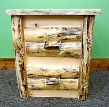 Rustic Log Nightstand 2 Drawers - $399 - Dovetail Drawers - Free Shipping