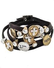 Cross Bracelet Wrap Word Believe Live Brown Faux Leather Rhinestone Friendship
