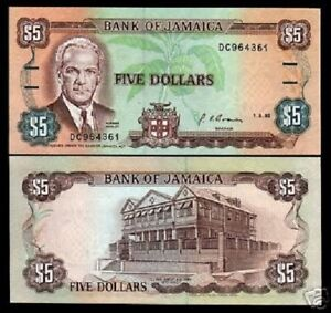 JAMAICA 5 Dollars P-70 1992 MANLEY PARLIAMENT UNC CARIBBEAN CURRENCY MONEY NOTE