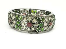 Diposide Ruby 925 Sterling Silver Bangle Natural Rose Cut Diamond Polki & Chrome