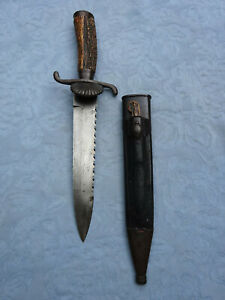 Massive Antique Saw backed Hunting knife Maker to European Royal Families