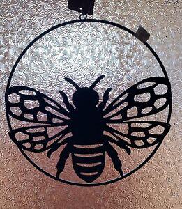 Black Metal Hanging Hoop With Bee - wall art or hanging, beautiful shadows