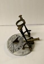 New listing Vintage High Noon Signal Sundial Brass Cannon & Magnifying Lens on Marble Base