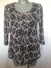 Ladies 3/4 Sleeve Blouse Top Lined Mesh Black & White Marco Polo Size XL(16)