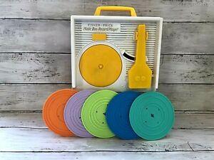 Retro 1971 Fisher Price Music Box Record Player & Discs