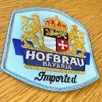 "1980s HOFBRAU BAVARIAN BEER vintage sew or iron-on patch IMPORTED GERMANY 3.75"""