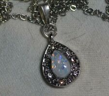Vintage antique natural Australian Fire Opal gemstone 14k white gold pendant