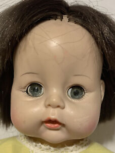 "1965 Madame Alexander Sweet Tears Plastic Hard Vinyl 13"" Baby Doll Vogue Dress"