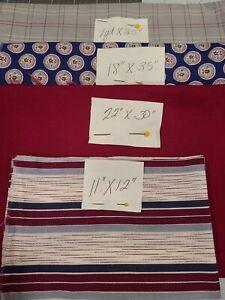 Vintage Lot Cotton Fabric Burgandy, Blue & Grey for Quilts, Doll Clothes  4 pcs
