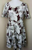 Dorothy Perkins Women Burgundy White Floral Skater Short Sleeve Dress UK 16