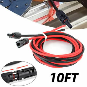 Solar Panel Extension Cable Wire One Pair 2x 10FT Black & Red W/ 10AWG Connector