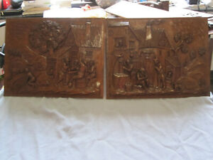 PAIR OFF ANTIQUES WOOD CARVED PANELS/ BREUGHEL STYLE