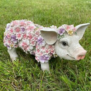 Gartenfiguren Schwein mit Blumenwiese - Ferkel Tiere groß Deko Tierfigur stehend