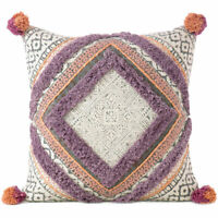 "20"" Purple Orange Off-White Colorful Decorative Boho Fringe Tassel Pillow Sofa C"