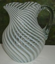 ANTIQUE ELEGANT CLEAR OPALESCENT SWIRL BULBOUS WATER PITCHER CA1880 GLOWS