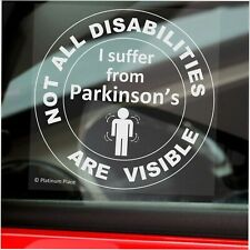 1 x Parkinson's-Not All Disabilities Are Visible-ROUND-Window Sticker-Sign,Car