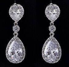 -Clip On- Wedding Swarovski Elements Drop Crystal Silver Long Bridal Earrings