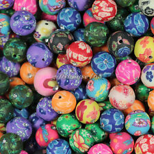 50pcs 12mm Mixed Polymer Fimo Clay with Rhinestone Round Ball Loose Spacer Beads