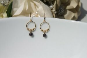 Genuine Black Pearl Exotic Color and 14kt Gold Filled Earrings Handmade-Unique