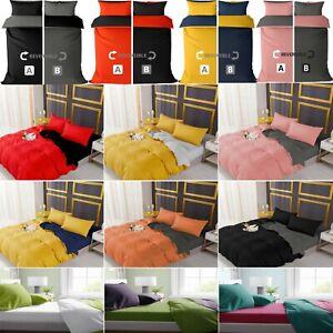 Luxury Reversible Plain Duvet Quilt Cover Bedding Set Single Double King Size