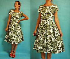 vintage 1950s / 1960s Olive Green Floral Cocktail Dress