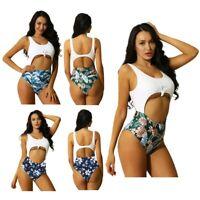 Women Floral Print Bikini Set Bathing Suit High Waist Swimwear Swimsuit Monokini