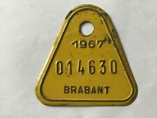 Vintage Metal Paint Belgian Bicycle License Plate 1967.