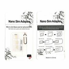 4 in 1 Pack Nano a Micro e STANDARD SIM CARD ADATTATORE PER VARI TELEFONI CELLULARI