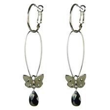 Boucles d'oreilles créoles plaqué or longue argenté papillon noir cristal goutte